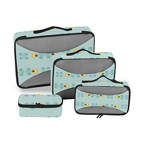 Lot de 4 Sacs de Toilette Floraux pour Femme - Grand Sac à cosmétiques avec poignée - Organiseur de Toilette pour Homme et Femme