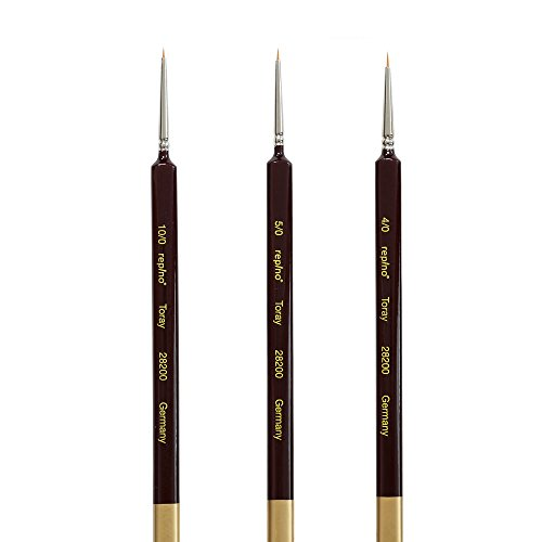 Repino Toray Pinsel Set Künstlerpinsel Pinselset - fein - sehr dünn - Grösse 10/0, 5/0, 4/0