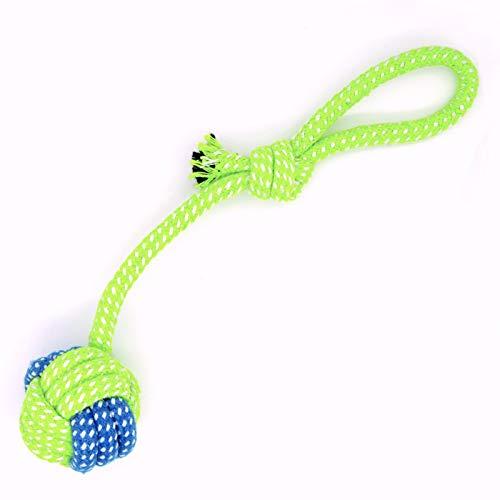 Ruberg Hundeball Seil Hunde Spielzeug Intelligenz Robst Geruchlos Hunde Wurfspielzeug Zerrspielzeug Kauspielzeug Wurfelball mit Schlaufen Hundeseile für Kleine Mittlere Große Hunde Grün 1PC