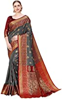 Amazon Brand - Anarva Women's Kanchipuram Silk Blend Saree With Blouse Piece
