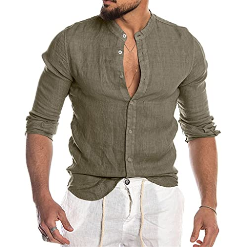 FZJDX Blusa casual para hombre Camisa de lino de algodón Camisas abotonadas de verano de manga larga para hombres (Color : Green, Size : XXL code)