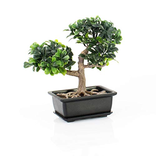 Bonsái artificial en maceta decorativa, 20 cm - Bonsái decorativo / Bonsai de plástico - artplants