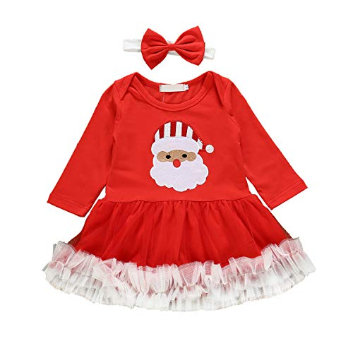 Borlai Baby Girls Santa Claus Print Christmas Outfit Red Dress with Headband 0-24 Months