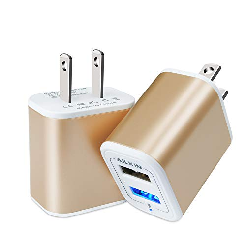 USB Power Adapter, Wall Plug, Ailkin 2-Pack 5V/2.1A Fast Charging Cell Phone Cube Home/Travel Wall Charger Block Box Brick Base for Phone XS/XR/10/8/7, Pad, Samsung Galaxy, LG, HTC, More USB Plug