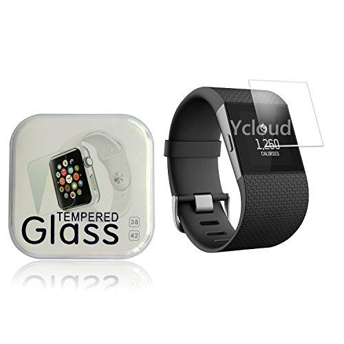 Ycloud Panzerglas Folie Schutzfolie Bildschirmschutzfolie für Fitbit Surge Smart Watch screen protector mit Festigkeitgrad 9H, 0,26mm Ultra-Dünn, Abger&ete Kanten