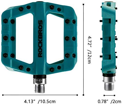 ROCKBROS Fahrradpedale Nylon Composite Flatpedale 9/16 Mountain Bike Pedale 3 Bearing rutschfest Wasserdicht Anti-Staub (Blau) - 5