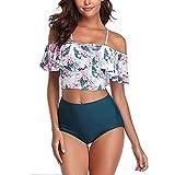 Damas Cintura Alta Bikini Traje de baño Volante Estampado patrón Tankini Traje de Damas Traje de baño de Playa fluyente (Size : XX-Large)