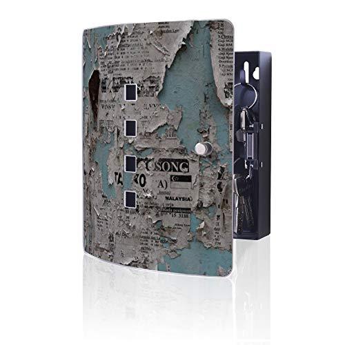 banjado Design Schlüsselkasten aus Edelstahl | 10 Haken für Schlüssel | praktischer Magnetverschluss | 24x21,5cm Motiv Wand mit Zeitungen