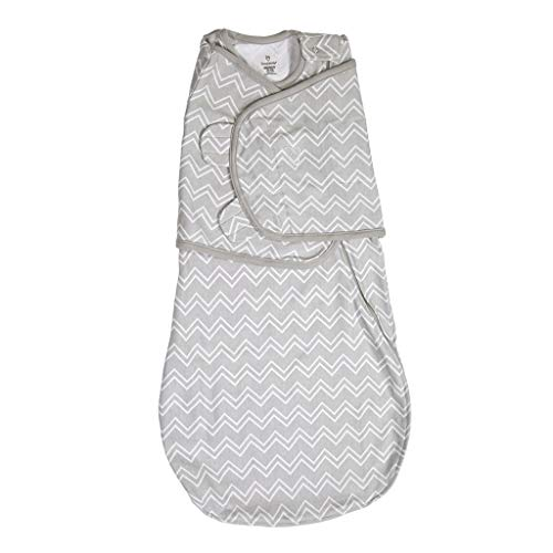 SwaddleMe Love Sack 3-in-1 Cotton Swaddle Wrap Wearable Blanket with Easy Change 2-Way Zipper for Newborns 0-4 Months Grey Chevron Small