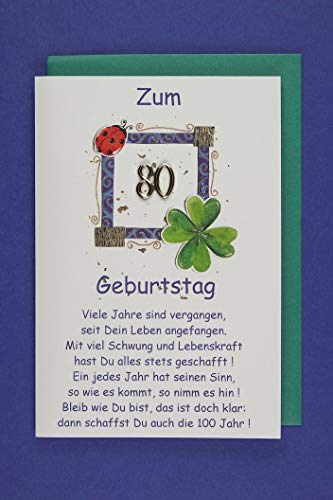 80 Geburtstag Karte Grußkarte Viel Text Goldzahl Applikation 16x11cm