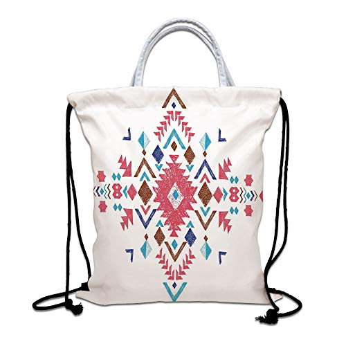Tribal Decor Drawstring Backpack Bag,Colored Hand Drawn Ethnic Pattern with Geometrical Like Frame Art Lightweight Sports Gym Bag for Women Men Children,Strawberry Caramel Blue