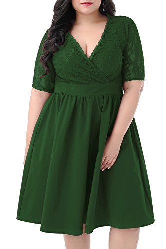 Nemidor Women's Half Sleeves V-Neckline Lace Top Plus Size Cocktail Party Swing Dress (Green, 18W)