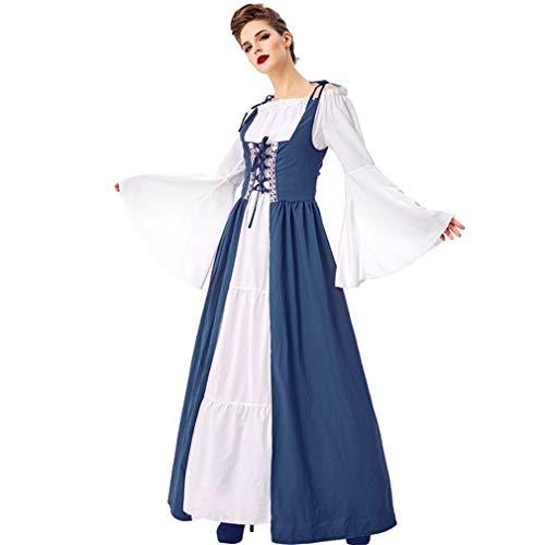 Disfraz de Halloween para mujer adulta, disfraz de drama medieval renacentista para cosplay o escenario de Halloween, para Halloween, fiesta, azul, XL