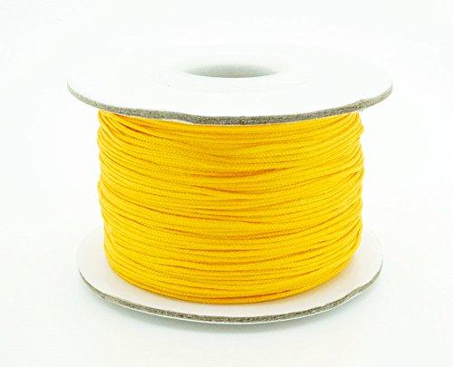 GOLD 0.8mm Chinese Knot Nylon Braided Cord Shamballa Macrame Beading Kumihimo String (50yards Spool)