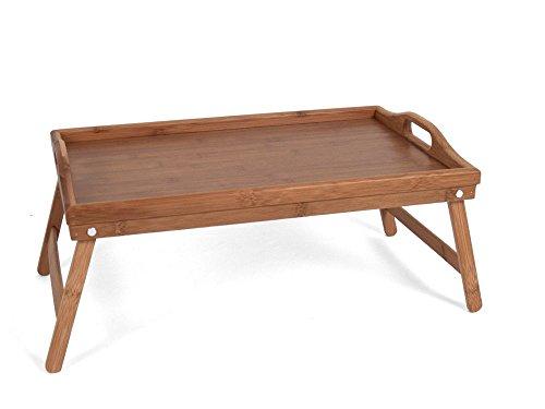 Dienblad voor op bed - Dienblad met pootjes - Bamboe- Houten serveerplateau Bed - Ontbijt dienblad - Bedtafel - Ontbijt op bed - 50x30x24 cm - hout kleur
