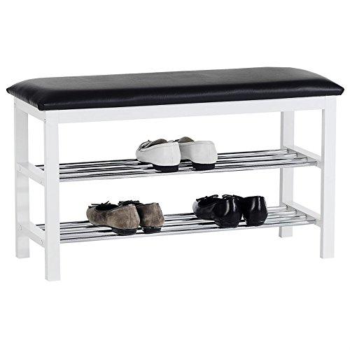 IDIMEX Sitzbank Schuhbank SANA, in schwarz/weiß mit gepolsterter Sitzfläche und 2 Schuhablagen