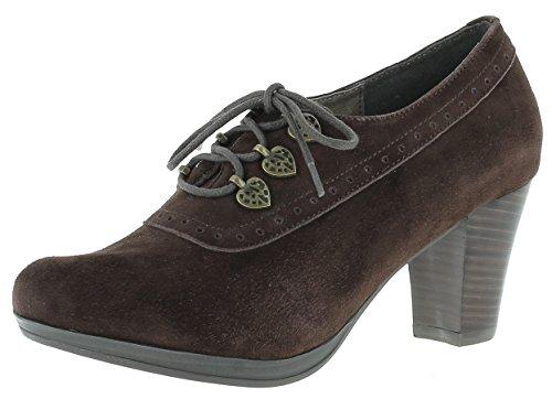 Hirsckogel Damen Pumps 3009229 Ankle Boots | Laces Ankle Boots | geschnürte Ankle Boots | Blockabsatz | Trachtenschuhe | Dirndlschuhe |, Größe:36 EU, Farbe:d.braun