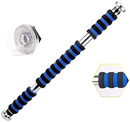 SXX Barra horizontal para dominadas de interior para entrenamiento de la parte superior del cuerpo, 62 – 100 cm, barra ajustable de dominadas, color azul, tamaño S