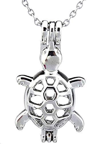 Ketting voor vrouwen - vrouw en man - man - diffuser - schildpad - aromatherapie - parfum - opening - etherische olie - zilver - origineel geschenkidee