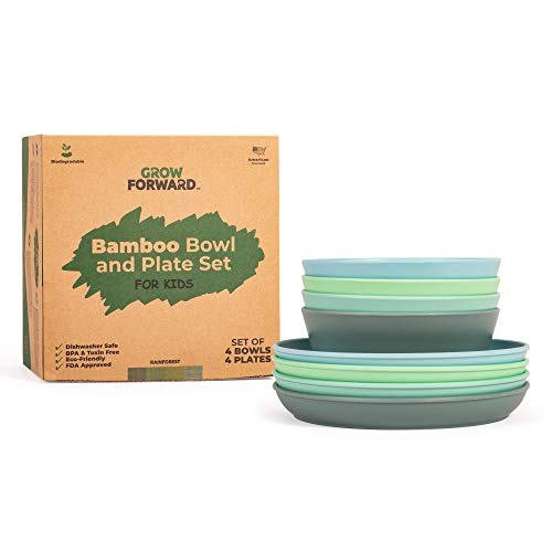 Kids Bamboo Bowl and Plate Set - 4 Bamboo Plates and 4 Bamboo Bowls - Toddler and Baby Feeding Supplies - BPA Free Dishwasher and Food Safe Dishes - Eco Friendly Biodegradable Reusable Dinnerware