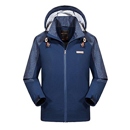 emansmoer Homme Outdoor Windbreaker Imperméable Respirant Manteau Veste de Pluie Sport Veste de Camping randonnée Escalade (Large, Bleu)