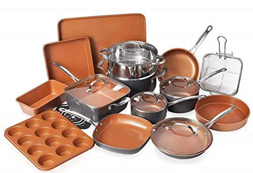 Gotham Steel Cookware + Bakeware Set with Nonstick Durable Ceramic Copper Coating – Includes Skillets, Stock Pots, Deep Square Fry Basket, Cookie Sheet and Baking Pans, 20 Piece, Graphite