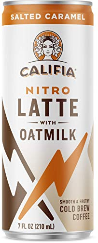 Califia Farms - Nitro Cold Brew Coffee, Oat Milk Latte - Salted Caramel - 7 Oz (12 Cans) | Shelf Stable | Iced Coffee On-the-Go | Clean Energy | Dairy Free | Gluten Free | Plant Based | Non-GMO