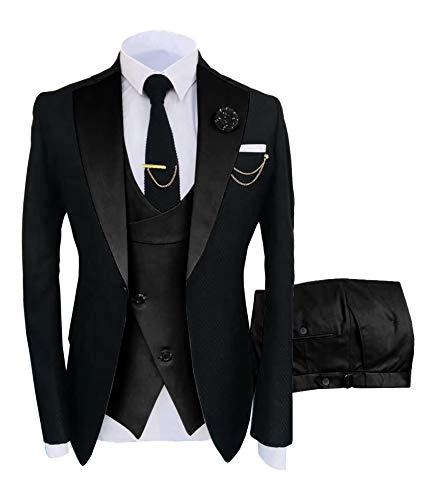 Traje formal de 3 piezas para hombre con solapa de muesca para hombre, ajuste delgado, traje de padrinos esmoquin para boda (Blazer+chaleco+pantalón) - negro - 44