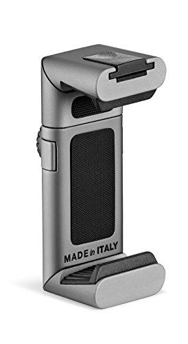 Manfrotto Twist Grip - Soporte Universal para Smartphone, Premium, Gris/Plateado Mate