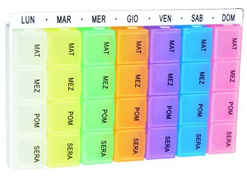 Portapillole settimanale, con 7 moduli estraibili di colori differenti, scritte in italiano