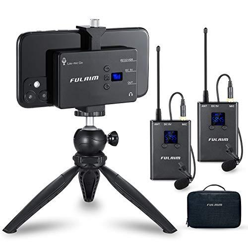 FULAIM MX12 20-Kanal UHF Kabelloses Lavalier-Mikrofon System für iPhone Android Handy DSLR-Kameras, Camcorder Mikrofon für Interview YouTube Vlogging Livestream Filmemachen - 2TX