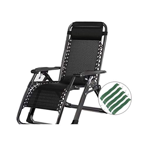 XinQing-Lazy Sofa Lawn Chairs Recliners with Adjustable Headrest for Heavy People Zero Gravity Outdoor Garden Beach Camping Portable Chair, 200kg (Color : B)