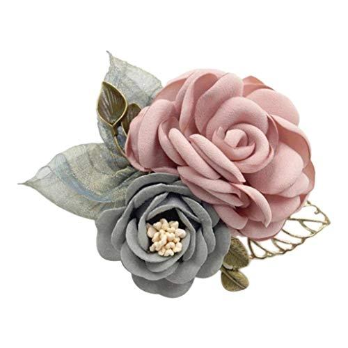 sharprepublic Ansteckblume Anstecker Pins Blumen Design Brosche Anstecknadel Abzeichen für Anzug Taschen Hüte zum Hochzeit Bankett Party - Rosa