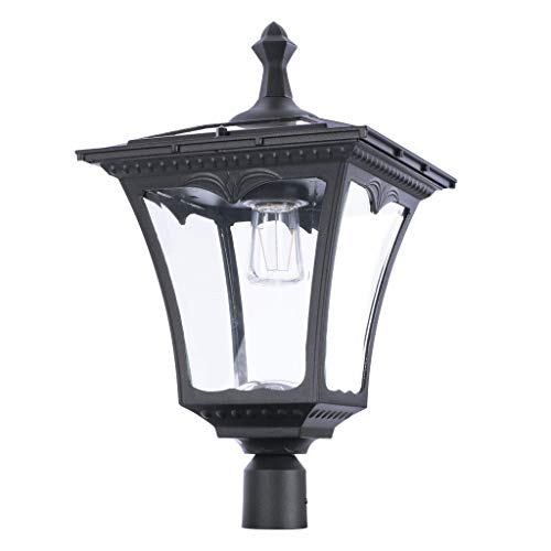 """Sterno Home GL42309 Upgraded Version Outdoor Solar LED Street, for Patio, Post Light, Garden, 76"""" High, 1-Pack, Black, 2nd Gen"""