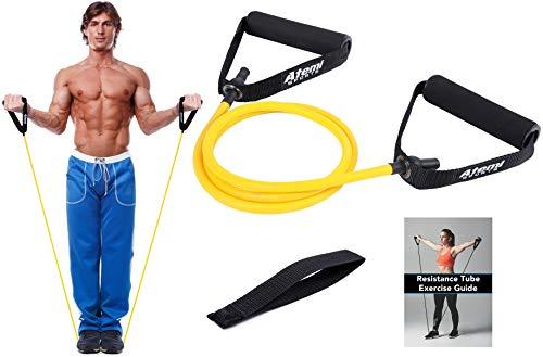 Atemi Sports Fitnessband mit Griffen & Türanker   Widerstandsband für Krafttraining & Physiotherapie   Kostenlose Übungsanleitung (#1 Gelb (Leicht))