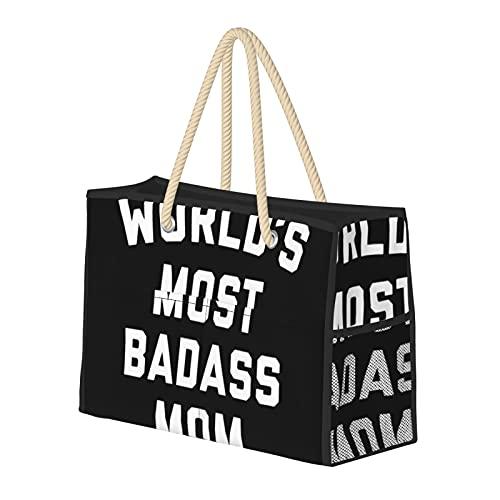 Grande borsa da spiaggia e borsa da viaggio per le donne – Tote Bag Pool Bag con manici, Weekender Bag & Borsa per la notte – Badass Mom Funny Citazione