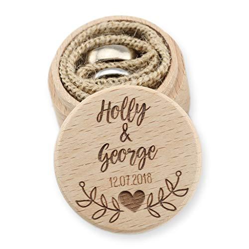 The Laser Engraving Company Personalised Wedding Ring Box - Ring Bearer Box - Proposal Ring Box - Engagement Ring Holder