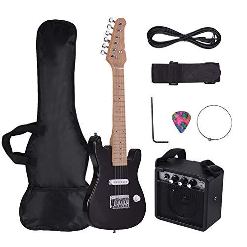 KEPOHK 21 Bünde 6 Saiten E-Gitarre Massivholz Paulownia Korpus Ahorn Hals mit Lautsprecher Notwendige Gitarrenteile & Zubehör Black-For-Child