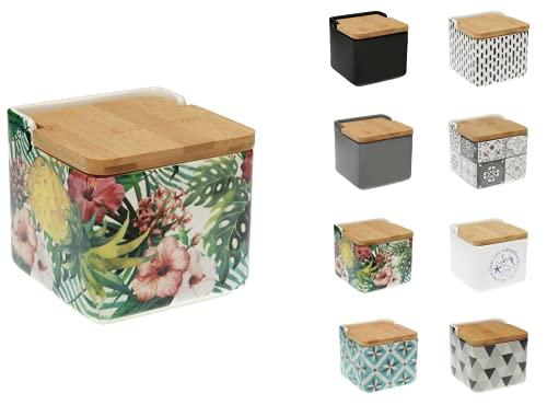 TIENDA EURASIA® Salero de Cocina de Cerámica con Tapa de Bambú Diseños Originales - 12,2 x 12,2 x 11,5 cm (Ayanna, Salero - 12,2 x 12,2 x 11,5 cm)