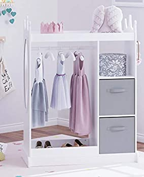 UTEX Kids Dress up Storage with Mirror and Storage Bin,Kids Play Armoire Dresser with Mirror,Kids Costume Organizer Pretend Storage Closet for Kids,Costume Storage Dresser  White