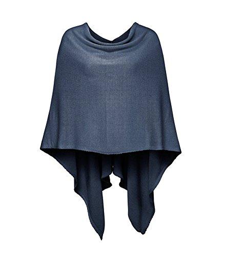 Cashmere Dreams Poncho-Schal aus Baumwolle - Hochwertiges Cape für Damen - Umhängetuch und Tunika - Strick-Pullover - Sweatshirt - Stola für Sommer und Winter Zwillingsherz,Einheitsgröße,Blau