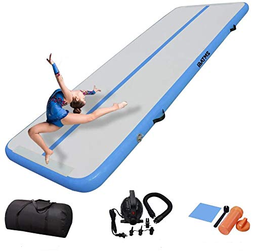 DAIRTRACK IBATMS Airtrack mat,10ft/13ft/16ft/20ft Tumble Track air mat for Gymnastics Training/Home Use/Cheerleading/Yoga/Water with Electric Pump