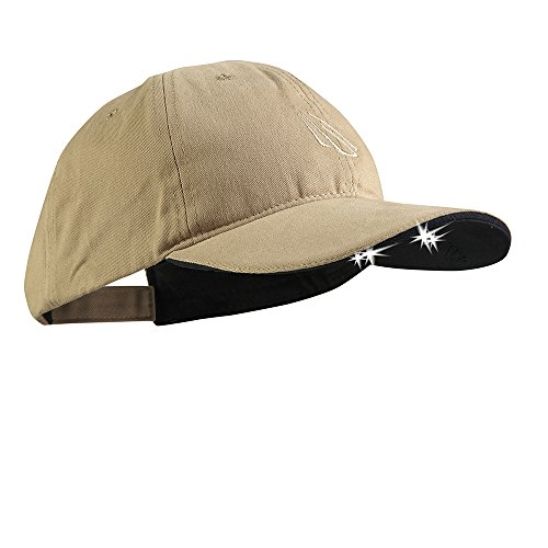 Panther Vision POWERCAP LED Hat 25/10 Ultra-Bright Hands Free Lighted Battery Powered Headlamp –Khaki Structured Cotton (CUB4-4171)