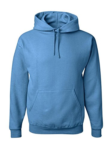 Jerzees Men's Black Adult Pullover Hooded Sweatshirt, Columbia Blue, Large