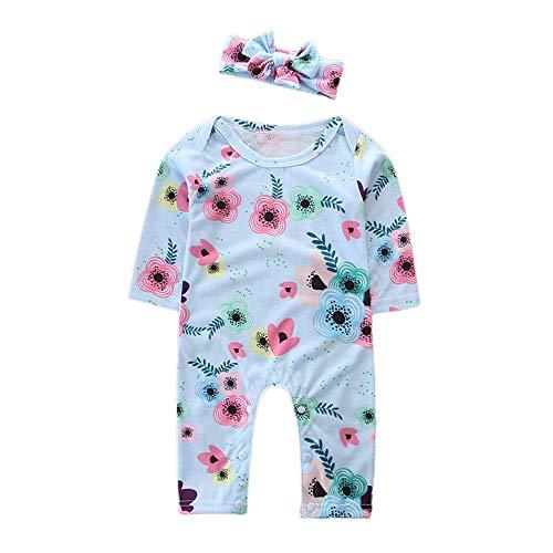 Transer Nouveau-né Bébé Filles Manches Longues Fleurs Imprimer Casual Combi + Bandeau Ensembles Enfants Vêtements (18-24 Mois, Bleu)