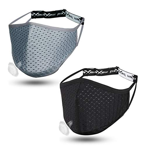 Sports Face Mask Athletic Workout Breathable Exercise Gym Running for Beards Men Women Working Out Adjustable Strap Nose Wire Reusable Washable Comfortable Glasses Wearers Pure Black Gray