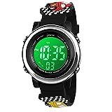 BIGMEDA Reloj Digital para Niños Niña, Luz Intermitente LED de 7 Colores Reloj de Pulsera Niña Multifunción, para Niños de 3 a 12 años (Roadster)