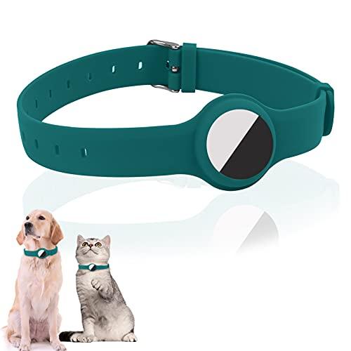 Yiomxhi Collar Perro Compatible con Airtag, Collare Ajustable para Perros pequeños medianos y Grandes, para Caminar Correr Entrenamiento Uso Quotidiano,Silicona Collar de Perro, Impermeable, Lago azul