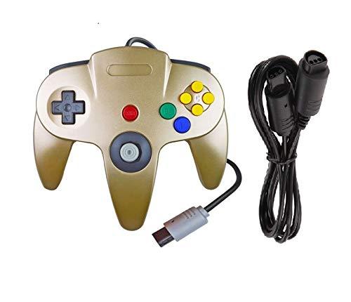DARLINGTON & Sohns Goldener Controller für Nintendo 64 N64 Joystick Gold Gamepad Joypad + Verlängerung Extansion Verlängerungskabel Gamepad