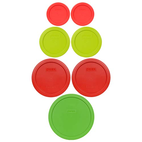 Pyrex (1) 7402-PC 6/7 Cup Green (2) 7201-PC 4 Cup Poppy Red (2) 7200-PC 2 Cup Green Edamame (2) 7202-PC 1 Cup Red Food Storage Lids - 7 Pack